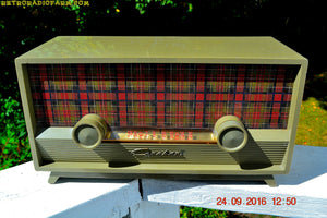 SOLD! - Oct 19, 2017 - SCOTTISH TARTAN Khaki Green Retro Vintage 1954 Capehart Model T-54 AM Tube Radio Totally Restored!