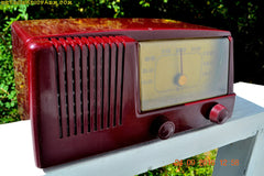 SOLD! - Feb 8, 2017 - BURGUNDY Mid Century Retro Vintage 1950 General Electric Model 411 AM Tube Radio Totally Restored!