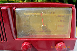 SOLD! - Feb 8, 2017 - BURGUNDY Mid Century Retro Vintage 1950 General Electric Model 411 AM Tube Radio Totally Restored! - [product_type} - General Electric - Retro Radio Farm