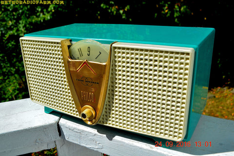 ABSOLUTELY TURQUOISE Twin Speaker Retro Vintage 1959 Philco Model E-816-124 AM Tube Radio Totally Restored!