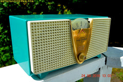 SOLD! - Dec 13, 2016 - ABSOLUTELY TURQUOISE Twin Speaker Retro Vintage 1959 Philco Model E-816-124 AM Tube Radio Totally Restored!