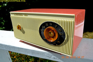 SOLD! - Jan 25, 2017 - CORAL PINK and White Mid Century Retro 1959 Admiral Model 3012A Tube AM Radio Totally Restored! - [product_type} - Admiral - Retro Radio Farm