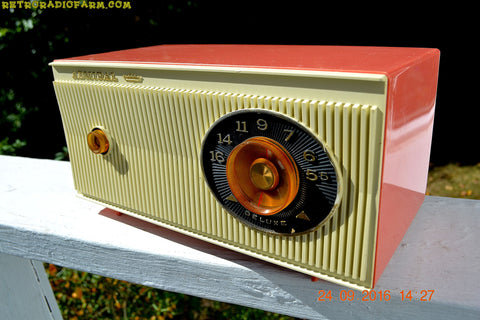 CORAL PINK and White Mid Century Retro 1959 Admiral Model 3012A Tube AM Radio Totally Restored!