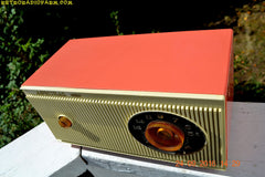 SOLD! - Jan 25, 2017 - CORAL PINK and White Mid Century Retro 1959 Admiral Model 3012A Tube AM Radio Totally Restored!