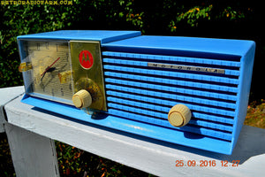 SOLD! - Dec 15, 2016 - CORNFLOWER BLUE Bi-level Retro Jetsons 1957 Motorola 57CD Tube AM Clock Radio Some Issues - [product_type} - Motorola - Retro Radio Farm