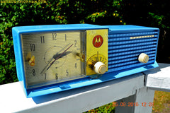 SOLD! - Apr 15, 2017 - CORNFLOWER BLUE Bi-level Retro Jetsons 1957 Motorola 57CD Tube AM Clock Radio Some Issues