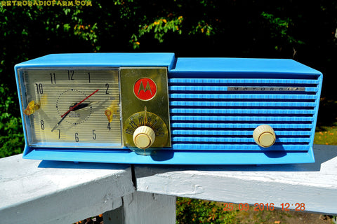 SOLD! - Dec 15, 2016 - CORNFLOWER BLUE Bi-level Retro Jetsons 1957 Motorola 57CD Tube AM Clock Radio Some Issues