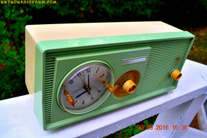 SOLD! - Dec 18, 2016 - PASTEL GREEN Retro Jetsons 1958 Motorola 5C23GW Tube AM Clock Radio Beautiful! - [product_type} - Motorola - Retro Radio Farm