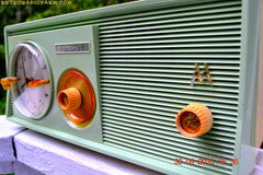 SOLD! - Dec 18, 2016 - PASTEL GREEN Retro Jetsons 1958 Motorola 5C23GW Tube AM Clock Radio Beautiful!