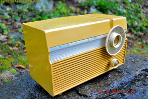 SOLD! - July 30, 2017 - MAIZE YELLOW Mid Century Jet Age Retro 1959 Philco Model E-812-124 Tube AM Radio Totally Awesome!!