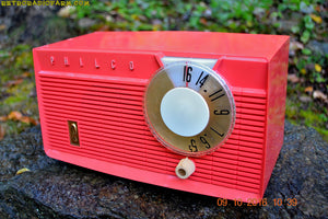 Coral Pink Mid Century Retro Antique 1958 Philco Model F815-124 Tube AM Radio Totally Restored! - [product_type} - Philco - Retro Radio Farm
