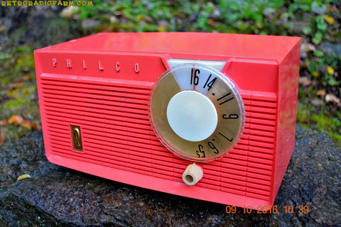 CORAL PINK Mid Century Retro Antique 1958 Philco Model F815-124 Tube AM Radio Totally Restored!