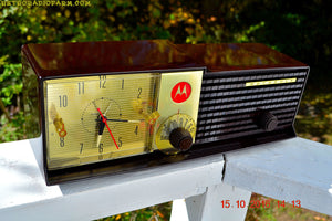 SOLD! - Dec 17, 2016 - IMMACULATE Expresso Bi-level Retro Jetsons 1957 Motorola 57CD Tube AM Clock Radio Pristine! - [product_type} - Motorola - Retro Radio Farm