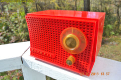 SOLD! - Dec 10, 2017 - SCARLET Red Mid Century Retro Jetsons 1959 Olympic Model 407 Tube AM Radio Works Great!