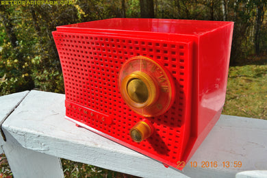 SOLD! - Dec 10, 2017 - SCARLET Red Mid Century Retro Jetsons 1959 Olympic Model 407 Tube AM Radio Works Great! - [product_type} - Olympic - Retro Radio Farm