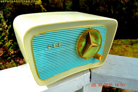 SOLD! - Jan 30, 2017 - SO JETSONS LOOKING Retro Vintage Turquoise and White 1959 CBS Model T201 AM Tube Radio So Cute!