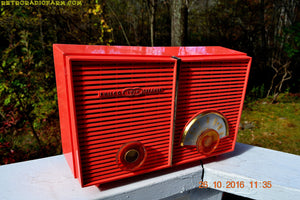 SOLD! - Oct 28, 2016 - WACKY LOOKING Coral Mid Century Retro Jetsons Vintage 1957 Philco H826-124 AM Tube Radio Works Great!