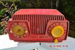 SOLD! - Oct 28, 2016 - ROSE PINK Retro Jetsons 1954 Stewart Warner Model 9187-J Tube AM Clock Radio Sounds Great!