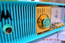 Load image into Gallery viewer, SOLD! - Dec 13, 2016 - VIVID Turquoise Retro Jetsons 1957 Motorola 57CC Tube AM Clock Radio Totally Restored! - [product_type} - Motorola - Retro Radio Farm