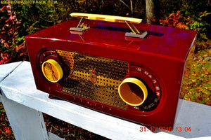 SOLD! - Nov 28, 2016 - MAROON Mid Century Retro Jetsons Vintage 1955 Zenith Model R511-R AM Tube Radio Excellent Condition! - [product_type} - Zenith - Retro Radio Farm