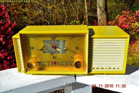 SOLD! - Feb 8, 2017 - AUTUMN GOLD Retro Jetsons 1959 Admiral 296 Tube AM Clock Radio Sounds Great! Rare Color!