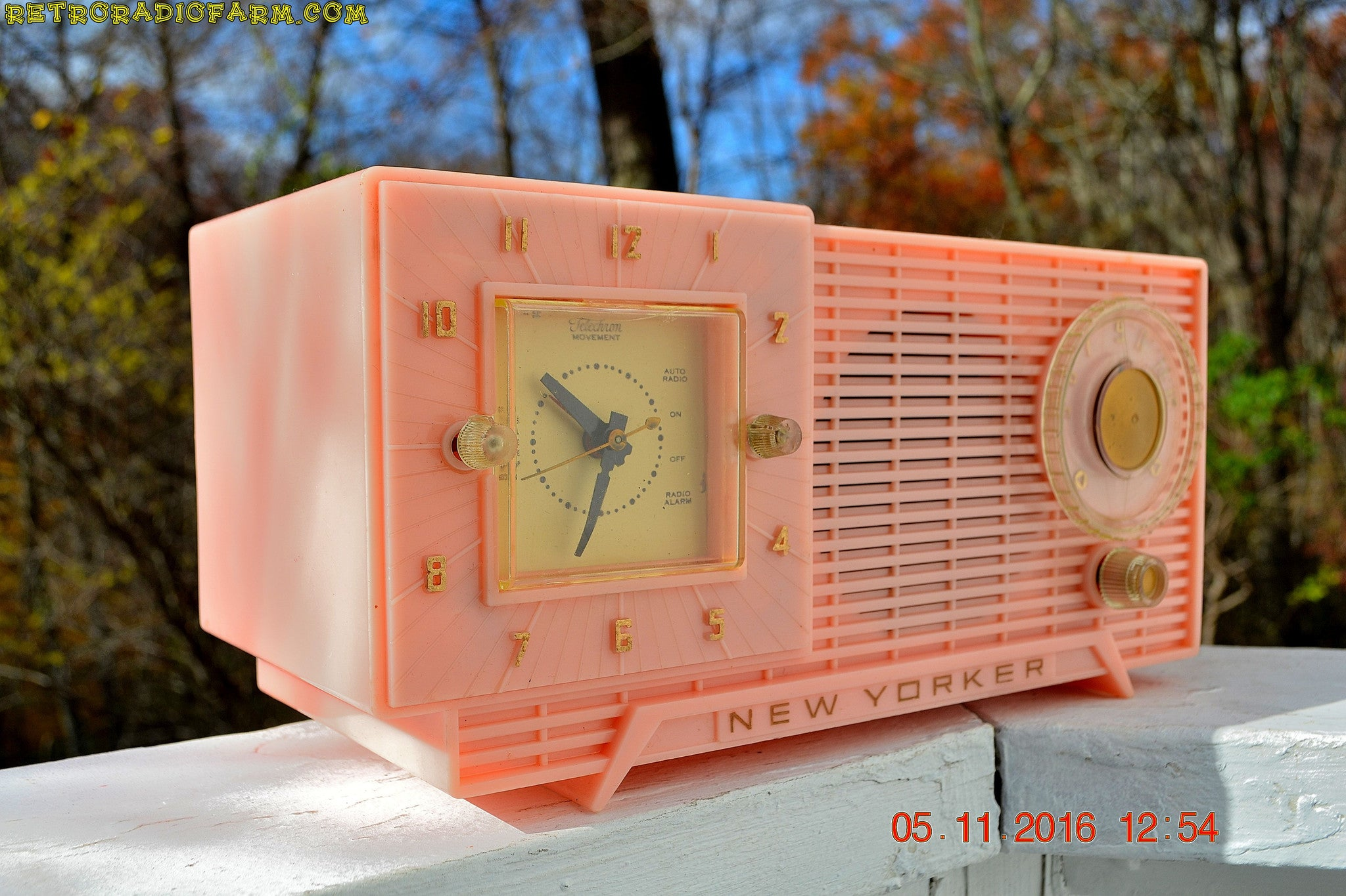 SOLD! - Nov 7, 2016 - PARK AVE PINK Mid Century Retro Jetsons 1956 New Yorker AM Clock Radio Marilyn Approves!