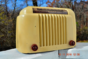 SOLD! - Dec 3, 2016 - SMART LOOKING 1947 Ivory Bendix Aviation Model 110W Bakelite AM Tube AM Radio Works Great! - [product_type} - Bendix Aviation - Retro Radio Farm