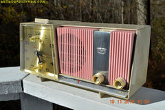 SOLD!- Dec 15, 2016 - DAISY PINK and Beige Motorola C18 Clock Radio 1963 Tube AM Clock Radio Totally Restored! Rare!