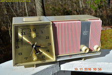 Load image into Gallery viewer, SOLD!- Dec 15, 2016 - DAISY PINK and Beige Motorola C18 Clock Radio 1963 Tube AM Clock Radio Totally Restored! Rare!