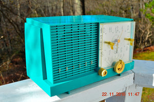 SOLD! - Nov 14, 2017 - REAL TEAL DEAL Mid-Century Retro Vintage 1959 Philco Model F-752-124 AM Tube Clock Radio Totally Restored! - [product_type} - Philco - Retro Radio Farm
