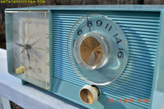 SOLD! - Nov 26, 2016 - BLUETOOTH MP3 READY - Powder Blue Mid Century Jetsons 1959 General Electric Model C-404B Tube AM Clock Radio Near Mint!