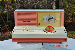 SOLD! - May 16, 2017 - DUSTY ROSE METALLIC and PINK Mid Century Retro Jetsons Vintage 1960 Sylvania Model 5C12 AM Tube Clock Radio Unique Works Great!
