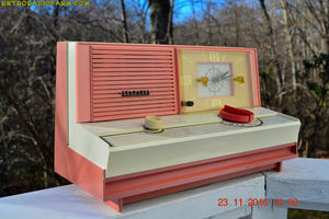 SOLD! - May 16, 2017 - DUSTY ROSE METALLIC and PINK Mid Century Retro Jetsons Vintage 1960 Sylvania Model 5C12 AM Tube Clock Radio Unique Works Great! - [product_type} - Sylvania - Retro Radio Farm
