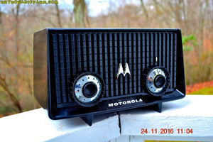 SOLD! - Dec 4, 2016 - GLOSS BLACK Mid Century Vintage Antique 1957 Motorola 56R AM Tube Radio Works Great! - [product_type} - Motorola - Retro Radio Farm