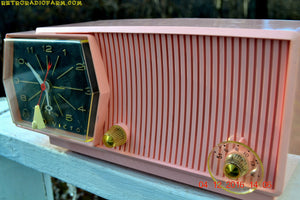 SOLD! - Dec. 8, 2016 - PRINCESS PINK Mid Century Retro RCA Victor C-51F Clock Radio 1959 Tube AM Clock Radio Sounds Great! - [product_type} - RCA Victor - Retro Radio Farm