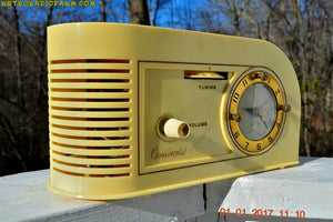 SOLD! - Jan 29, 2017 - IVORY and GOLD Golden Age Art Deco 1948 Continental Model 1600 AM Tube Clock Radio Totally Restored! - [product_type} - Continental - Retro Radio Farm