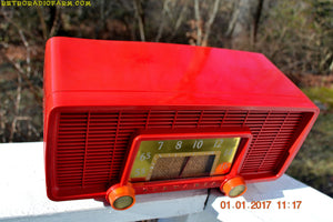 SOLD! - Jan 8, 2017 - CARDINAL RED Retro Space Age 1955 Sylvania Model 518 Tube AM Radio Excellent Condition! - [product_type} - Sylvania - Retro Radio Farm
