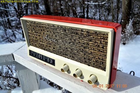 SOLD! - Sept 1, 2017 - CORAL PINK Mid Century Vintage 1959 Arvin Model 2585 Tube Radio Almost Mint and Very Sweet!