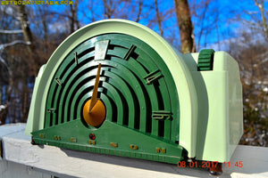 SOLD! - Nov 3, 2017 - GREEN BANDSHELL Mid Century Retro Vintage Antique 1954 Emerson Model 744 Series B Tube AM Radio Looks Great!