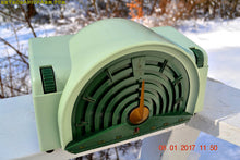 Load image into Gallery viewer, SOLD! - Nov 3, 2017 - GREEN BANDSHELL Mid Century Retro Vintage Antique 1954 Emerson Model 744 Series B Tube AM Radio Looks Great!