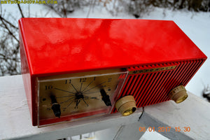 SOLD! - Apr 28, 2017 - CARDINAL Red Retro Jetsons 1957 Motorola Model 56CS34 Tube AM Clock Radio Totally Restored! - [product_type} - Motorola - Retro Radio Farm