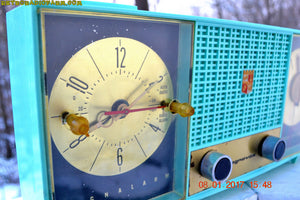 SOLD! - Dec 1, 2017 - STUNNING AQUA BLUE Mid Century Retro Jetsons 1957 Magnavox C5 Tube AM Clock Radio Works Great! - [product_type} - Magnavox - Retro Radio Farm