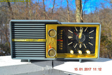 Load image into Gallery viewer, SOLD! - Mar 16, 2017 - SLATE BLUE Retro Jetsons Vintage 1959 Motorola Model 66C AM Tube Clock Radio Works Great!