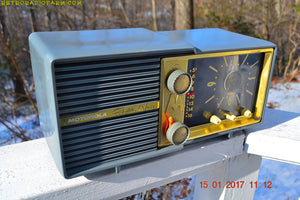 SOLD! - Mar 16, 2017 - SLATE BLUE Retro Jetsons Vintage 1959 Motorola Model 66C AM Tube Clock Radio Works Great! - [product_type} - Motorola - Retro Radio Farm