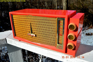 SOLD! - July 13, 2017 - UGLORGEOUS™ Hot Pink Mid Century Retro Vintage 1957 Silvertone 7012 AM Tube Radio Totally Restored! - [product_type} - Silvertone - Retro Radio Farm
