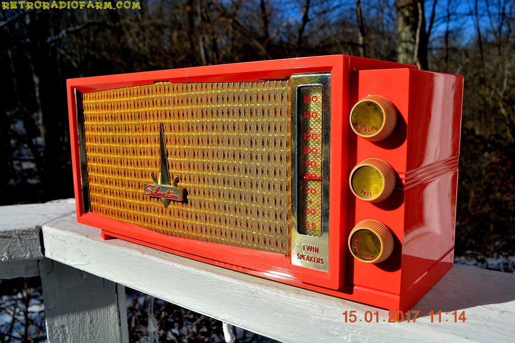 UGLORGEOUS™ Hot Pink Mid Century Retro Vintage 1957 Silvertone 7012 AM Tube Radio Totally Restored!