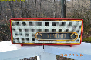 SOLD! - Mar 6, 2017 - TORCH RED Mid Century 1959 Crosley Ranchero T-60 RD AM Tube Radio NEAR MINT Quality Construction Sounds Great! - [product_type} - Crosley - Retro Radio Farm