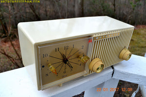 SOLD! - Aug 21, 2018 - IVORY Mid Century Retro Vintage Antique Motorola 1957 Model 57CF1 Clock Radio Tube AM Clock Radio Near Mint! - [product_type} - Motorola - Retro Radio Farm
