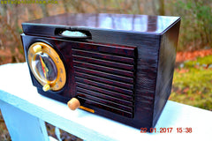 SOLD! - Jan 30, 2017 - BLUETOOTH MP3 READY - Art Deco 1951 General Electric Model 512F AM Brown Bakelite Tube Clock Radio Pristine!