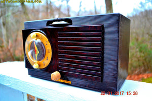 SOLD! - Jan 30, 2017 - BLUETOOTH MP3 READY - Art Deco 1951 General Electric Model 512F AM Brown Bakelite Tube Clock Radio Pristine! - [product_type} - General Electric - Retro Radio Farm